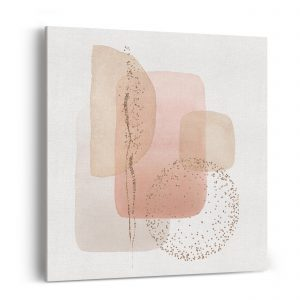Wall canvas with pink and beige abstract forms.
