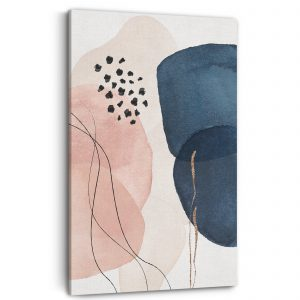 Abstract canvas with pink and midnight blue shapes.