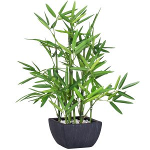 Large artificial green bamboo in black clay pot.