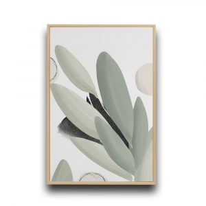 Abstract sage green foliage illustration wall hanging with a natural wood frame.