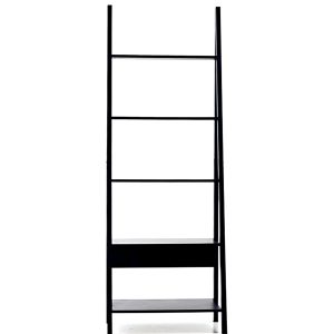 Large black shelf with a ladder look with 5 shelves.
