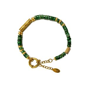 Stainless steel bracelet - Gold and green