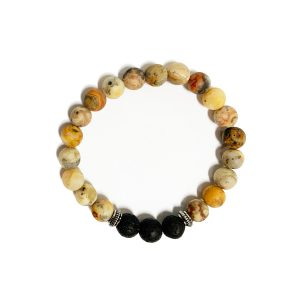 Stretch bracelet - Natural with volcanic stone