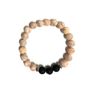 Stretch bracelet - Red marbled stone and volcanic