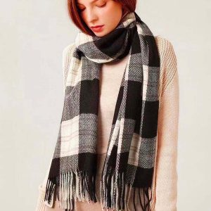 Plaid scarf - black, white and pink