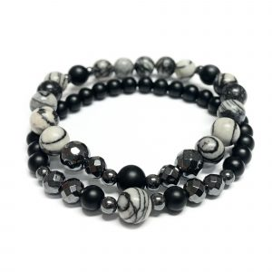 Duet of bracelets - Black and marbled agate